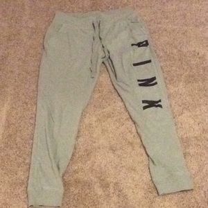 PINK size small light pale green jogger pants